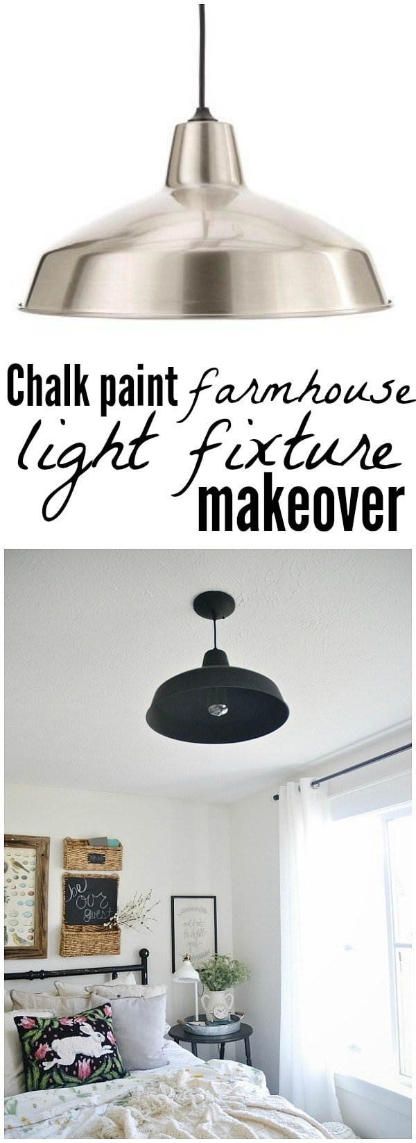 Chalk paint farmhouse light fixture - See where to find this farmhouse light fixture for less than $30 & how to easily customize it for your home!!