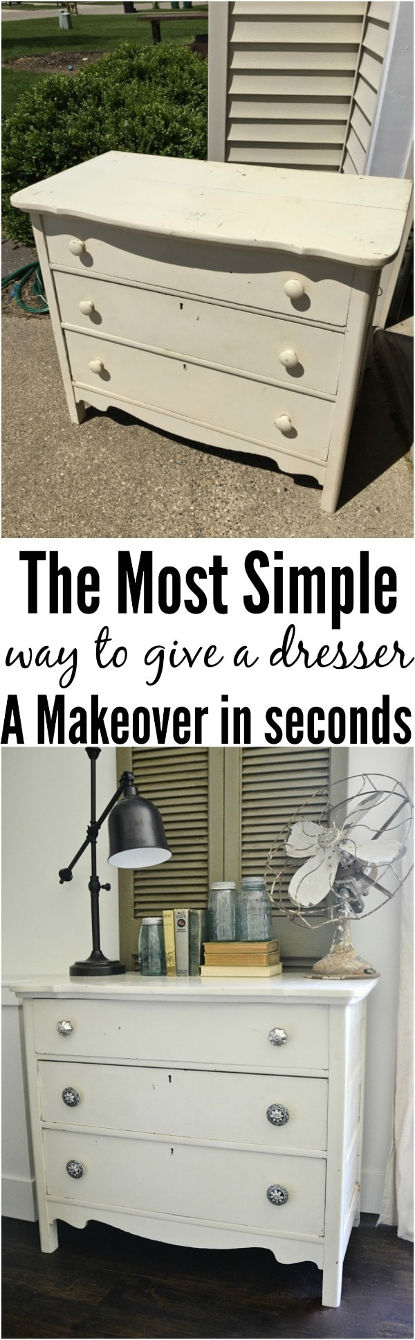 The most simple & inexpensive way to makeover a dresser or any piece of furniture in seconds!