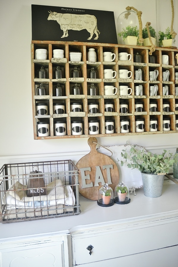 Cottage style farmhouse dining room - Dining room cubbies for coffee mugs/spice rack/ & more!