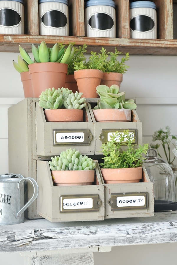 DIY Planter Drawers- So easy to make & a great way to display plants. & you can use junk from around your house that you already have.