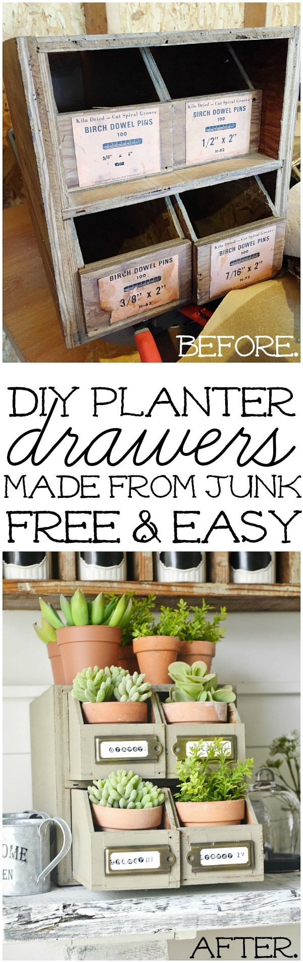 DIY Planter Drawers made from Junk