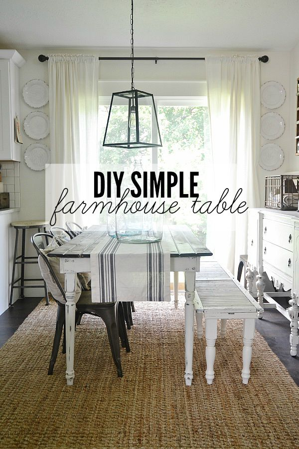 DIY simple & easy farmhouse table - A great beginner table that you can customize for your home!