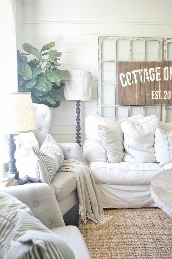 Cottage style living room - New Lamp makeover with DIY drop cloth lamp shade.