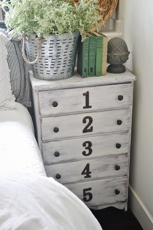 dresser nightstand, Rustic Numbered Dresser nightstand