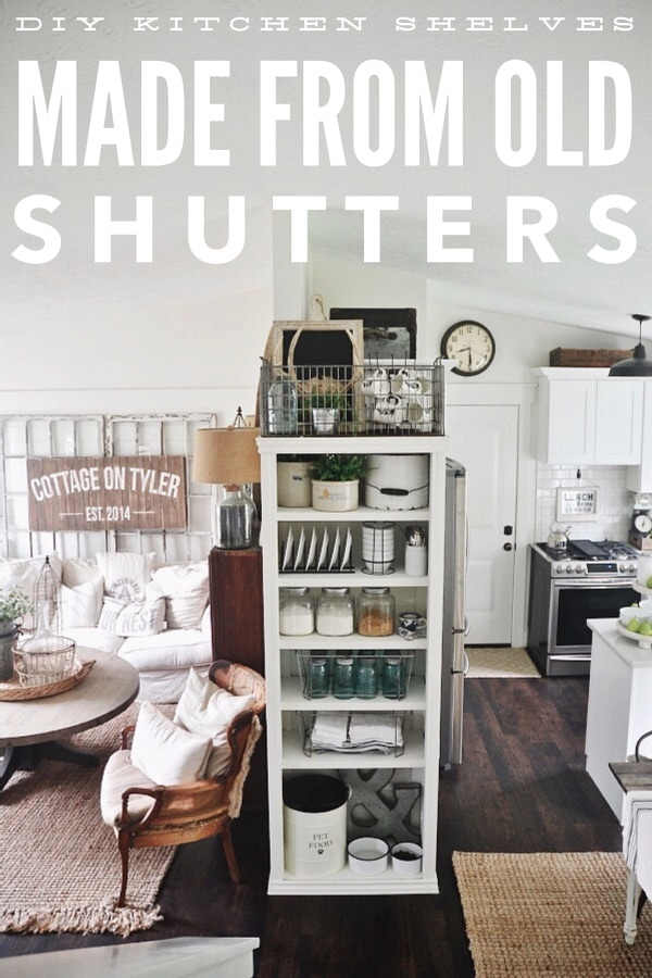 DIY kitchen shelves made from old shutters - Make this bookshelf out of old shutters for any room in your home!