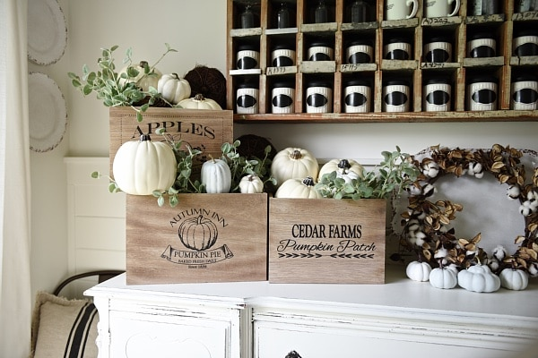 Rustic Fall Crates- DIY neutral rustic early fall decor in the dining room.