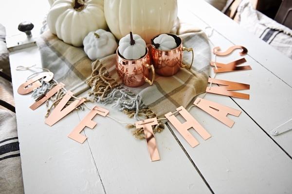fall centerpiece, Neutral & Copper Fall Centerpiece
