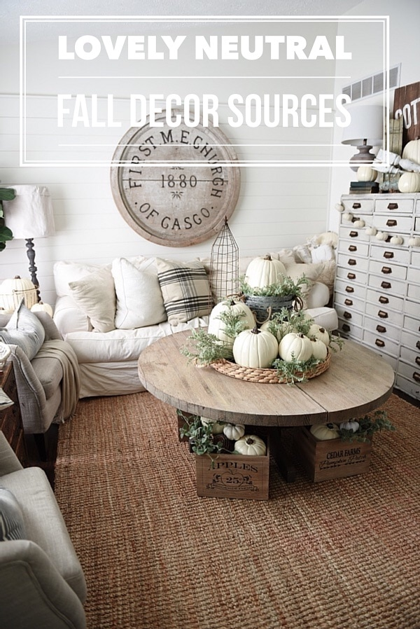 Neutral Fall home decor sources - Rustic neutral cottage fall decor
