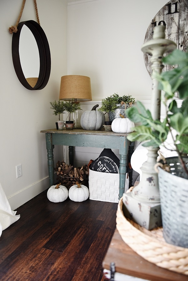 Cottage Style living room: Neutral living room using a table as an end table.