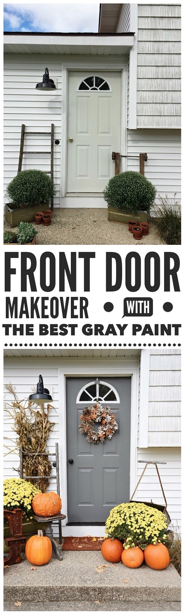 Simple fall porch makeover & a door makeover using the best gray paint! Kendall Charcoal by Benjamin Moore