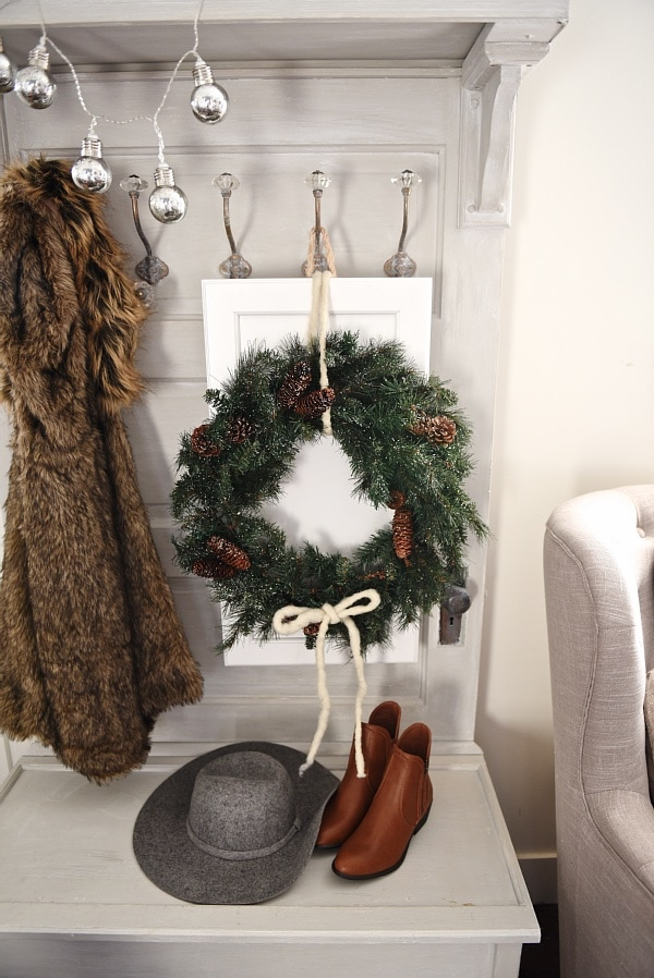 DIY cabinet door Christmas wreaths - See a great tutorial on how to make these cabinet door christmas wreaths that can be customized in any way!