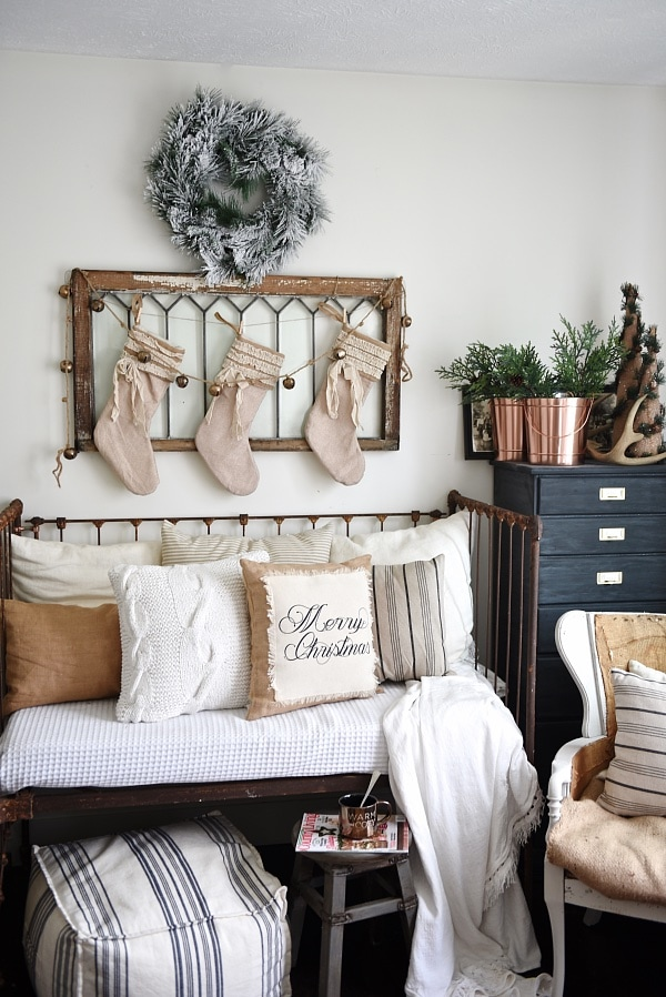 Neutral Rustic Christmas, Neutral Rustic Christmas Daybed & A Giveaway