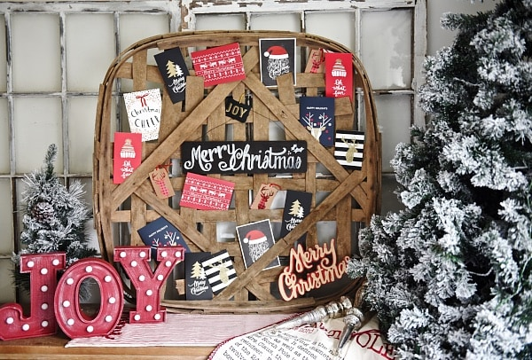 DIY tobacco basket Christmas card holder - A great way to display your Christmas cards. Also lists a great source for tobacco baskets!