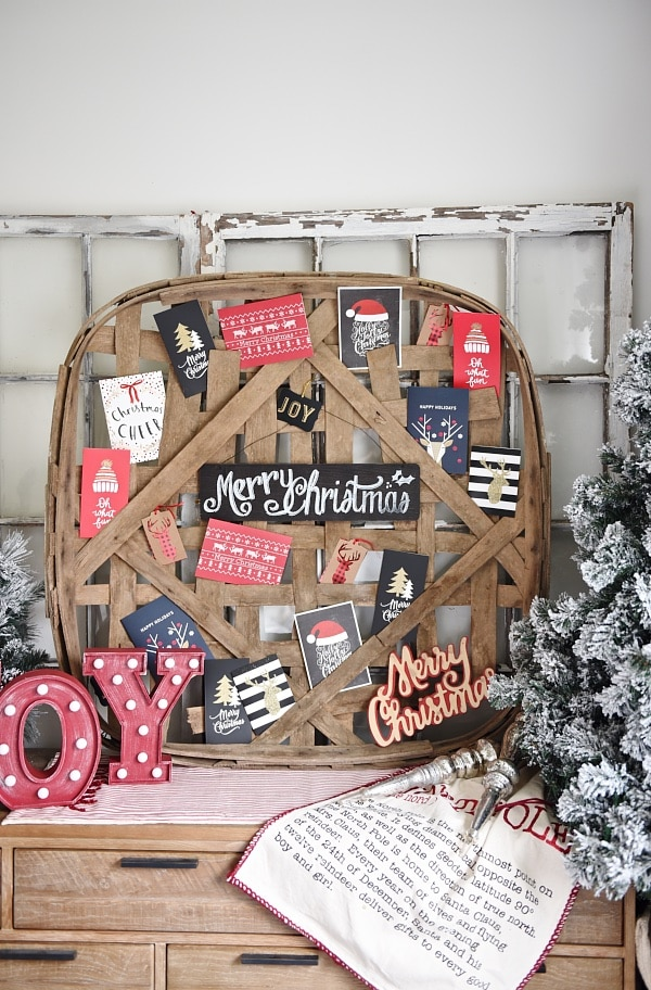 Tobacco basket Christmas card holder, DIY Tobacco Basket Christmas Card Holder