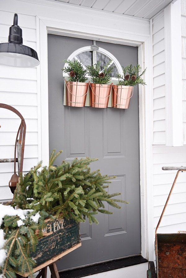 DIY Hanging Bucket Christmas Wreath