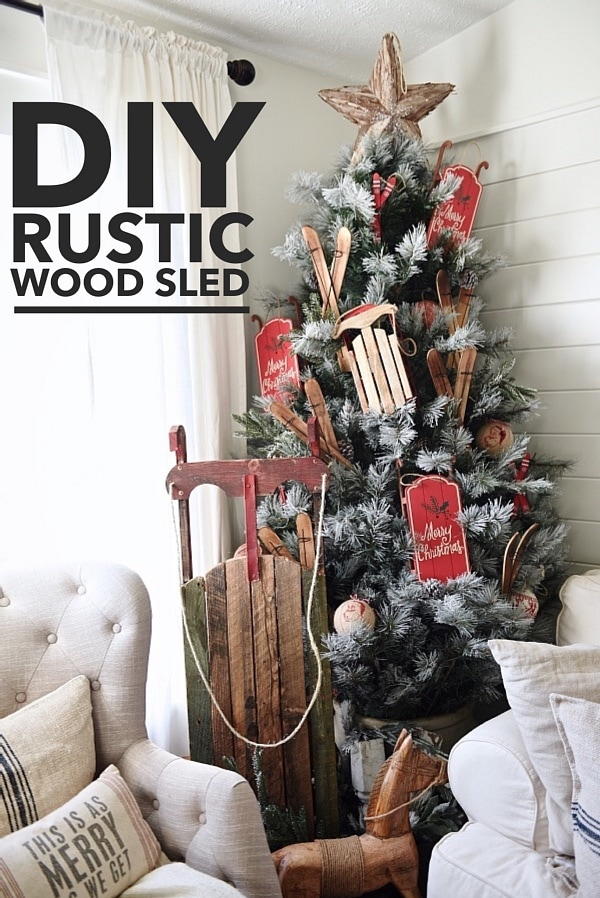 DIY large rustic wood sled - learn how to make this large vintage inspired wood sled. So easy & customizable too! Great for Christmas & winter decor!