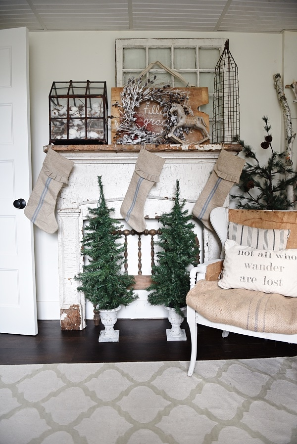 Neutral christmas mantel - New antique mantel in the guest bedroom.
