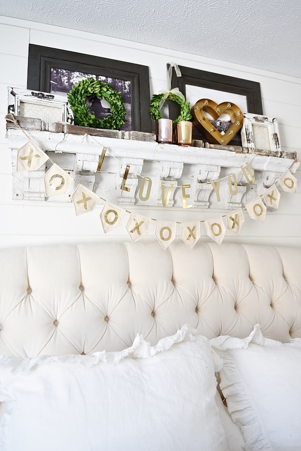 Cozy neutral cottage - valentines day bedroom decor- great neutral valentines day decor