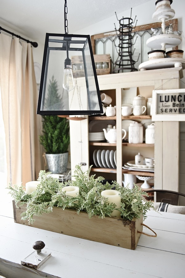 DIY Rustic Wood Box Centerpiece - See how to make this lovely rustic wood box centerpiece with rope handles. Great for a centerpiece & so much more. Versatile & can be filled with so many things.