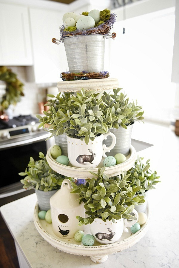 Spring tiered tray - spring cottage kitchen decor. A must pin for rustic farmhouse spring decor