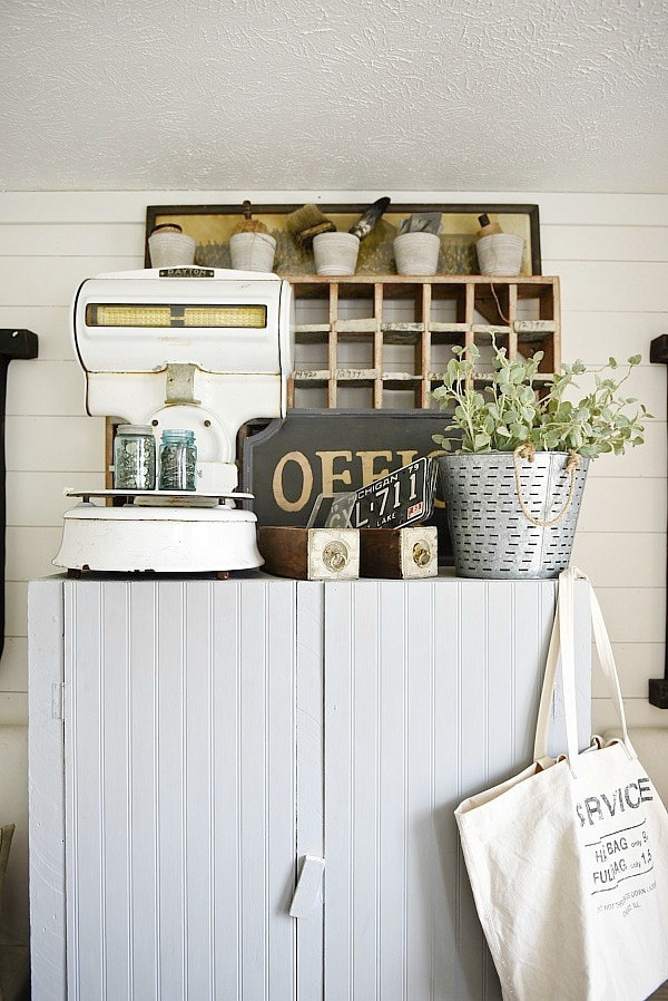 Office makeover - craft cabinet makeover. A great way to make any piece have a cottage feel. Add beadboard to the front of the cabinet & cover with chalkpaint for a farmhouse piece of furniture. Great craft closet idea!