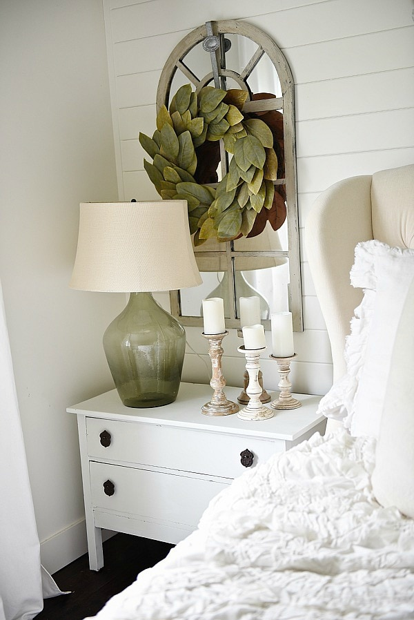 One Horn White Nightstand Makeover - Liz Marie Blog
