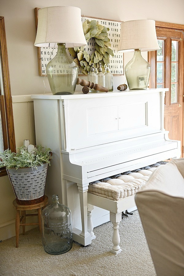 farmhouse style living rooms piano decor farmhouse living room liz 16598