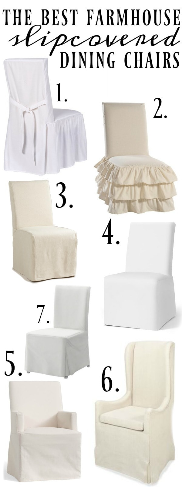 Farmhouse Style Slipcover Dining Chairs