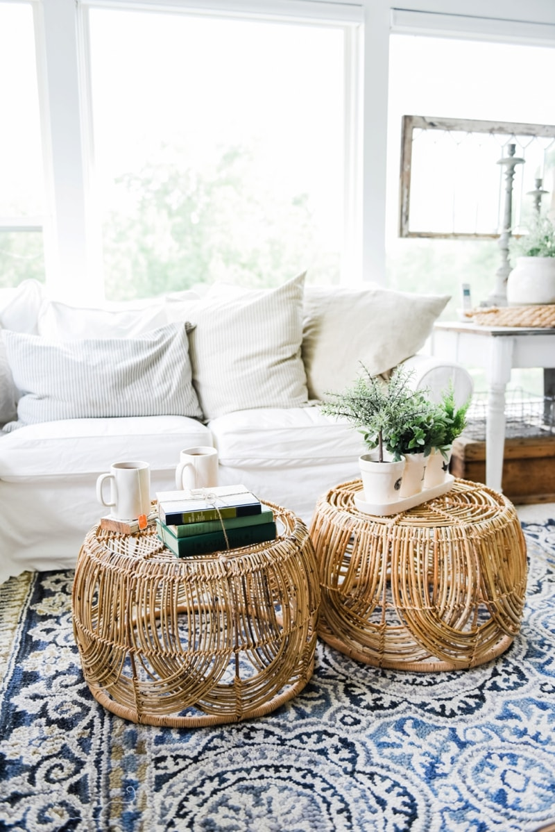 Wicker Coffee Table Sunroom Living Room Design by Liz Marie Blog_0009