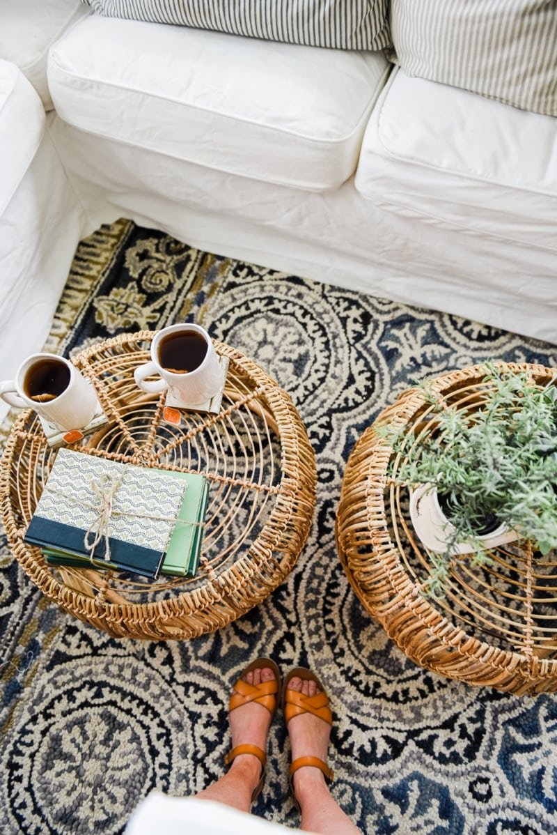 Wicker Coffee Table Sunroom Living Room Design by Liz Marie Blog_0013