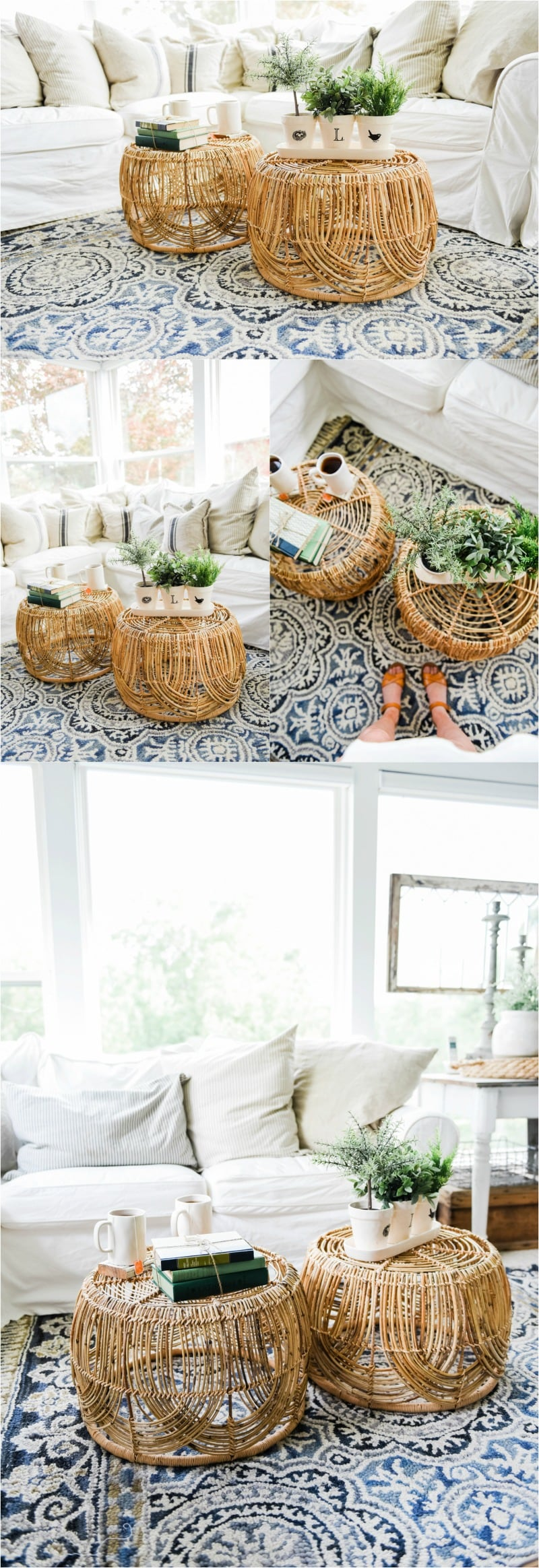 Wicker Coffee Table Sunroom Living Room Design by Liz Marie Blog_0018