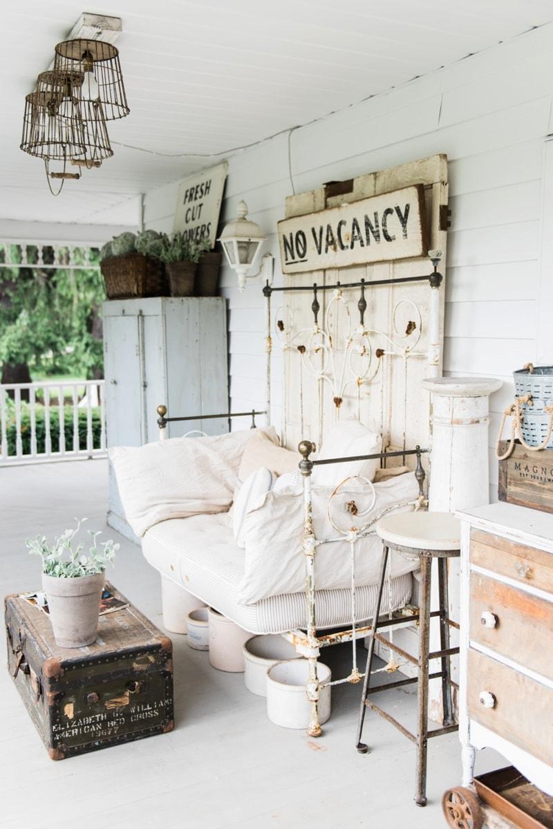 Farmhouse Front Porch - Late summer farmhouse porch. Rustic cottage style farmhouse decor.