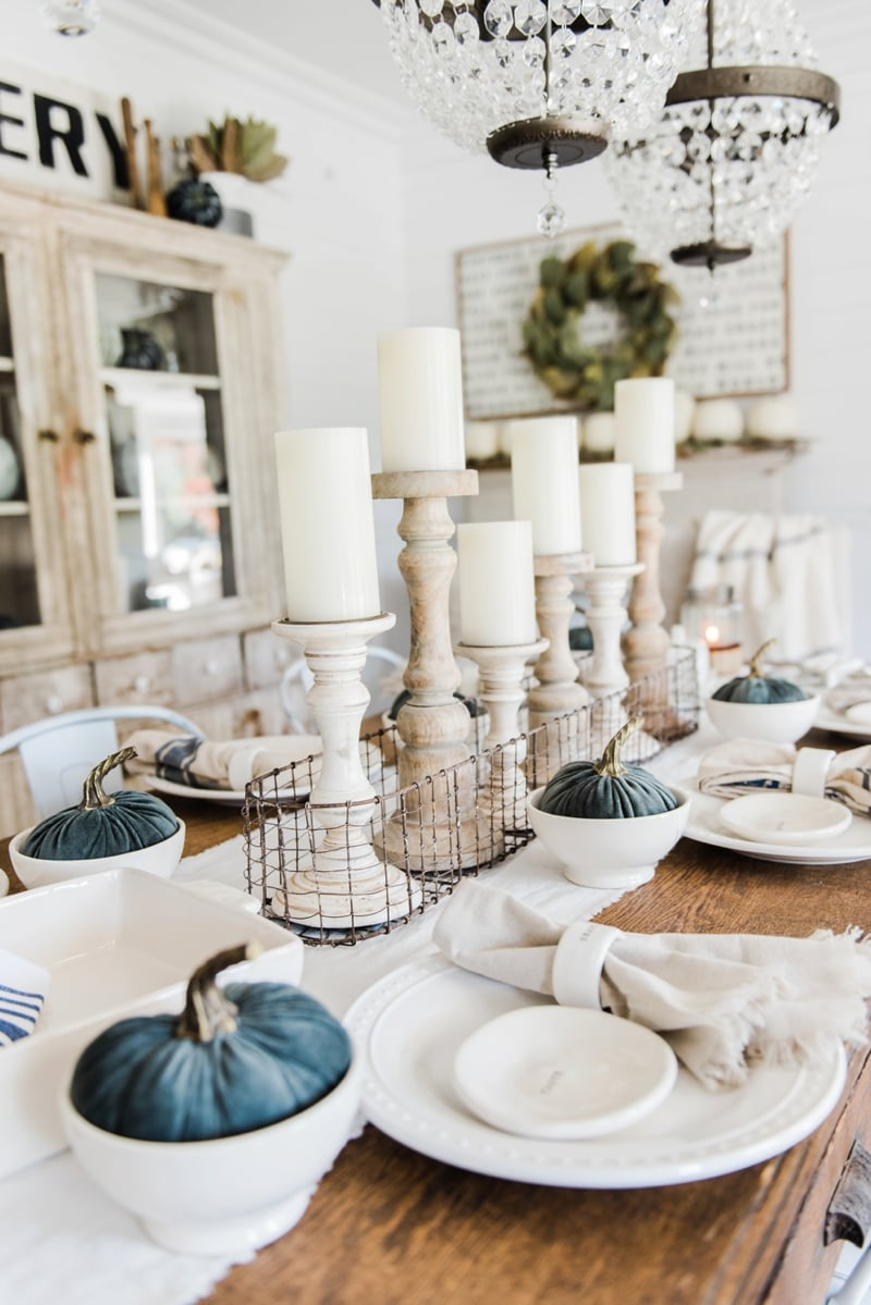 Simple neutral fall farmhouse dining room liz marie blog for Table decorations for dining table