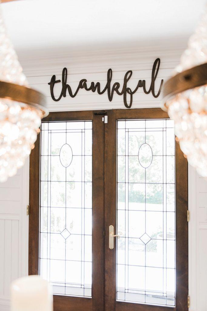 Neutral rustic fall decor - Wood cursive word art. Wooden thankful sign.