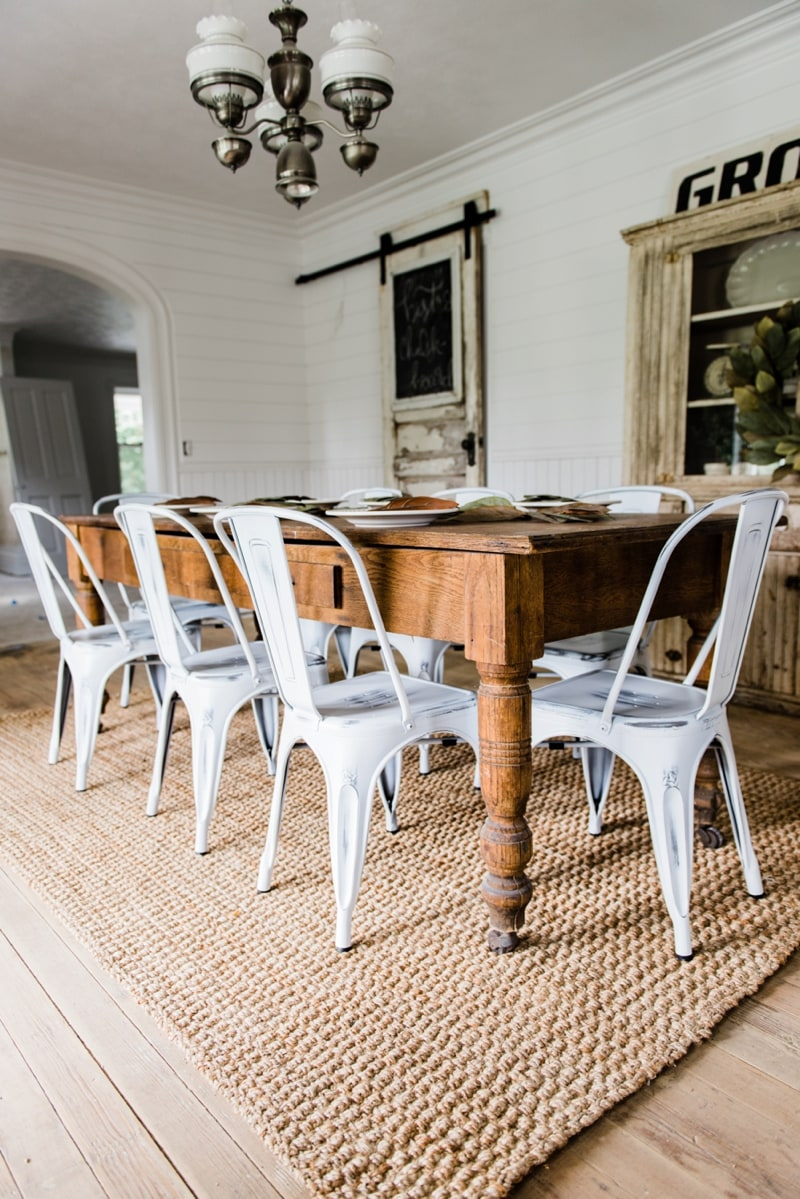 White Washed Dining Table. New Farmhouse Dining Chairs