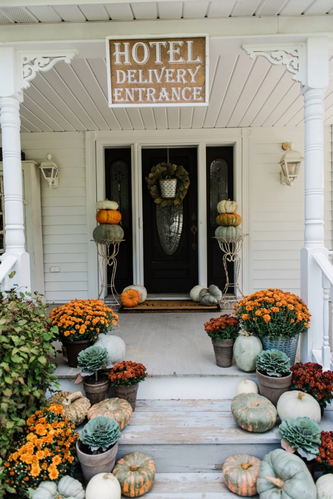 Rustic Fall Farmhouse Porch Pumpkins Mums On Stairs Great Inspiration For Cottage