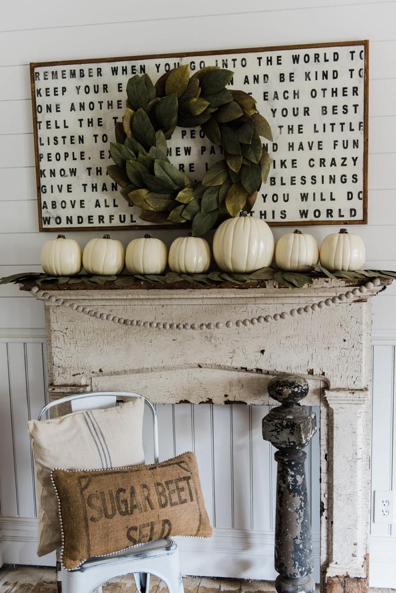 Simple & Rustic Fall Mantel
