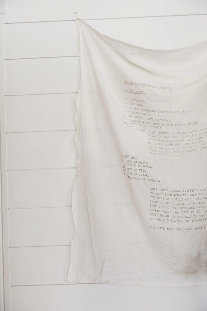 recipe tea towel art - Farmhouse dining room DIY art that is so simple!