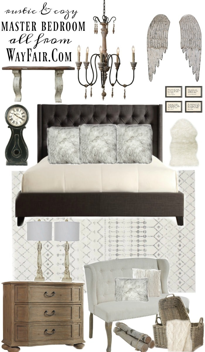 Lovely rustic & cozy master bedroom design - A great farmhouse style cozy master bedroom with all links to every item. A great blog for farmhouse & cottage style inspiration!