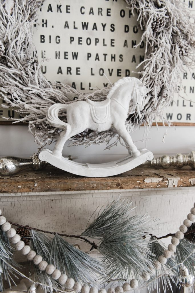 Christmas Rocking Horse Makeover - How to get this look - Great Neutral farmhouse christmas decor inspiration2