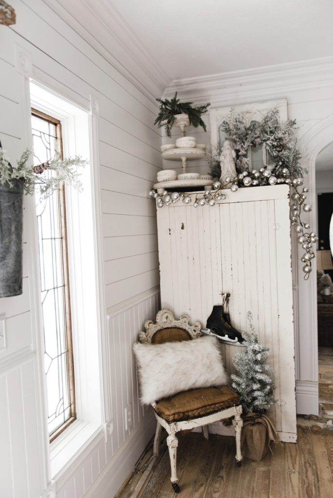 , Farmhouse Christmas Cabinet & Rustic Santa