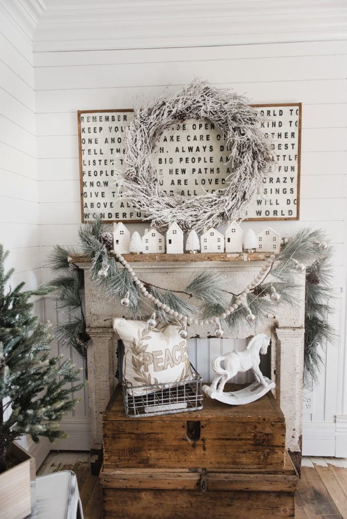 , Farmhouse Christmas Village Mantel