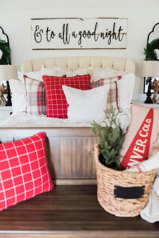 A Cozy Cheerful Farmhouse Christmas Bedroom - Liz Marie Blog