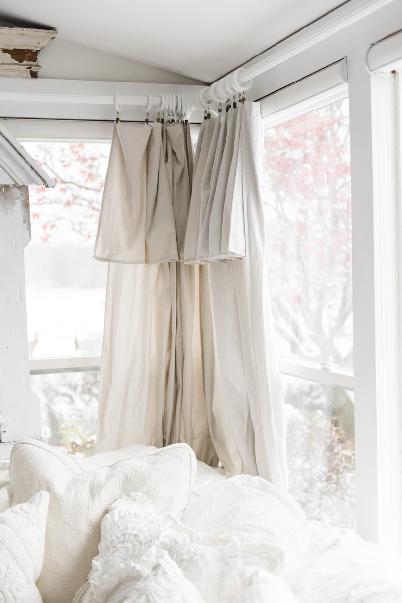 Diy Drop Cloth Curtains In The Sunroom Liz Marie Blog