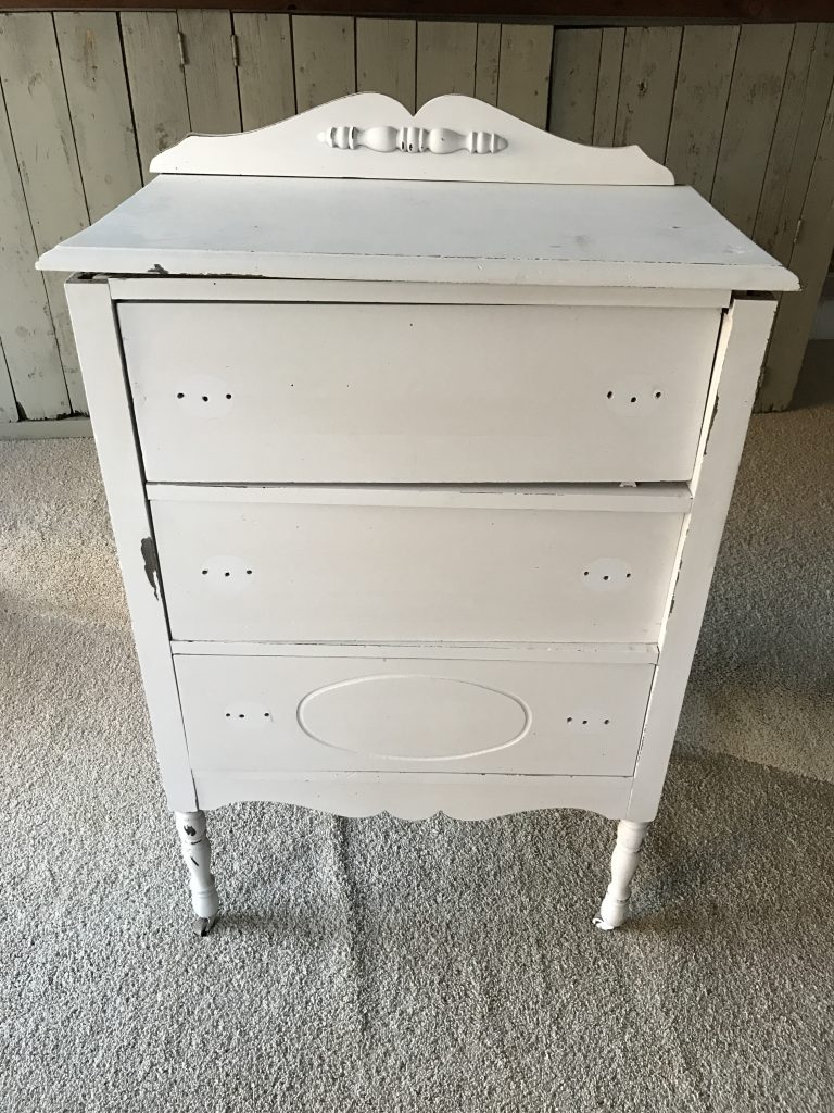 White Dress painted with Chalk Paint before getting painted Black