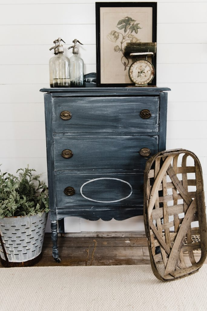 farmhouse styled dresser painted black with Chalk Paint
