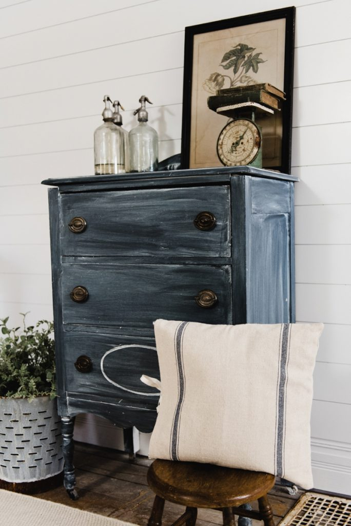 Old Farmhouse with Chalk Painted Dresser in Livingroom