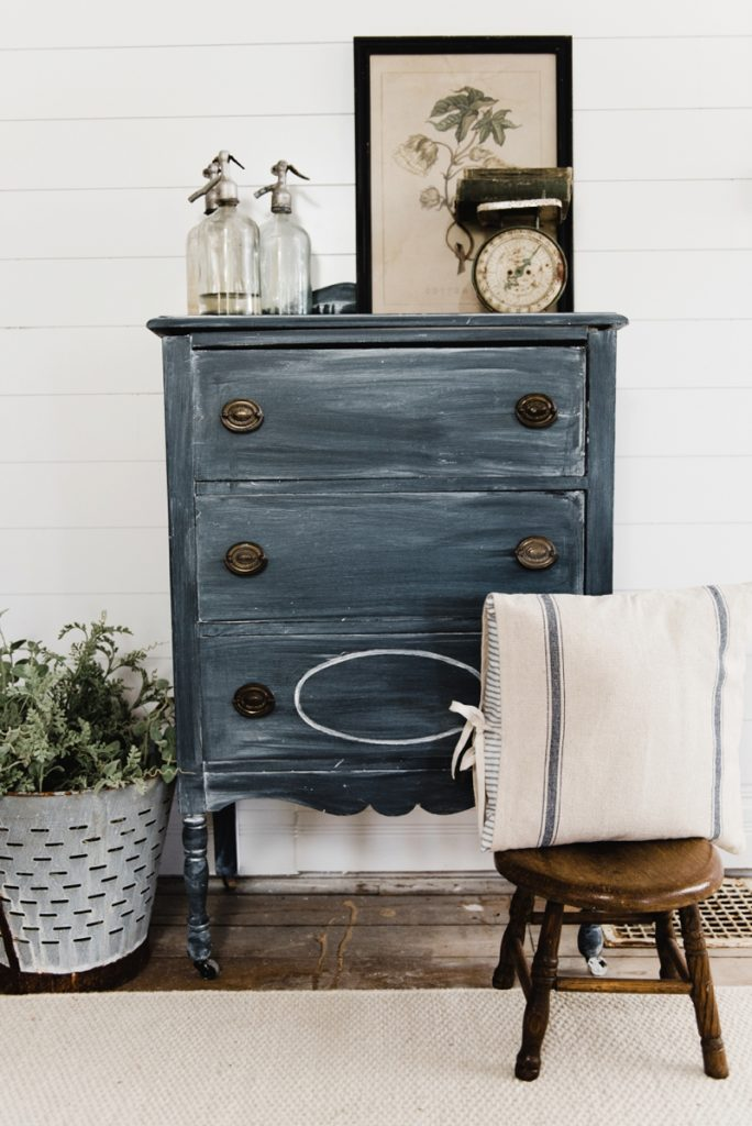 Black Painted Dresser in a Cottage Style Entryway