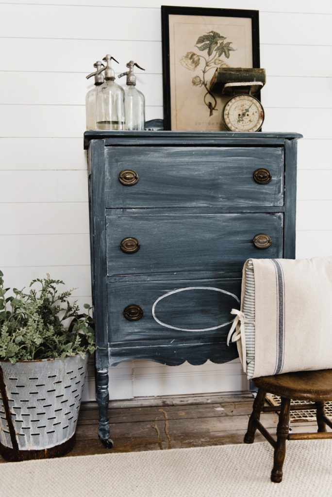 Example of a plain wood stained dresser painted with Chalk Paint