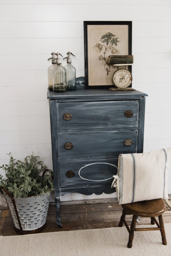 Styled Chalk Painted Dresser in a rustic farmhouse entryway